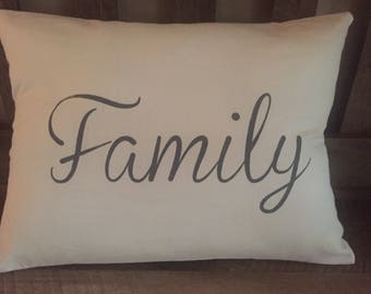 Family Hand Painted Decorative Throw Pillow-Home Decor-Housewarming Gift-Entryway-Living Room-New Home