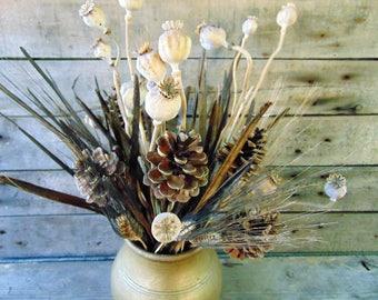 Dried Floral Arrangement,Rustic wedding decor,dried flowers, home decor,table arrangement,country wedding decor,kitchen decor, natural decor