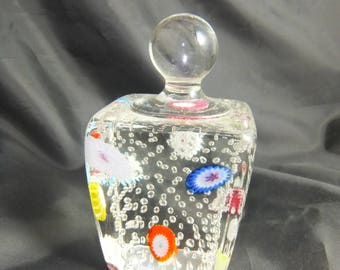 Handled Millifiori Controlled Bubble Paperweight Italy