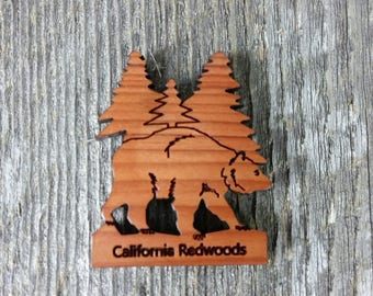 Redwood Bear Tree Wood Refrigerator Magnet Made in USA California Redwood Handmade