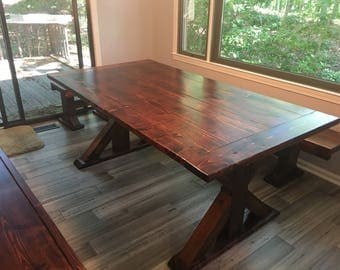 Farmhouse table, dining room table, wood