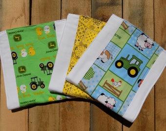 Set of 3 John Deere Tractor Burp Cloths - Baby Shower Gift
