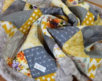 Gray and Yellow Patchwork Quilt, Gray Minky Backing