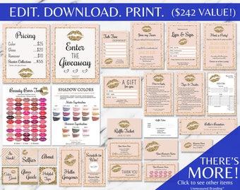 Gold Glitter and Blush Pink LipSense MEGA Bundle Marketing and Branding INSTANT Templates