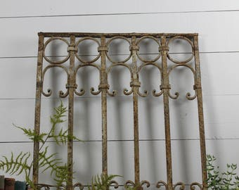 Architectural Salvage Antique Victorian Iron Fence Panel, Ornate Iron Work