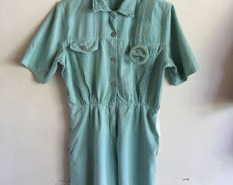 Vintage 80s teal romper silver buttons