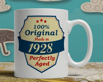 90th Birthday gift born 1928 celebration idea coffee mug  90 years old happy print cup grandparent sign of affection for him or her