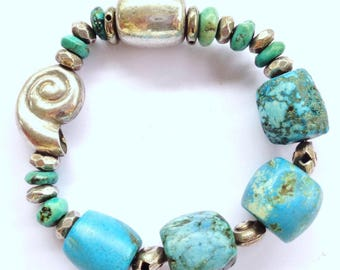 Genuine 925 Silver and turquoise stretchy bracelet