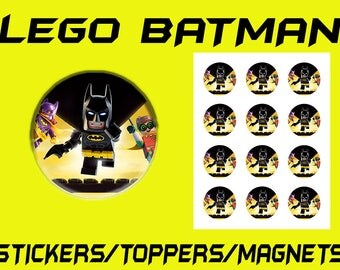 Lego Batman Sticker Sheet / Cupcake Toppers / Magnets DIGITAL FILE ONLY