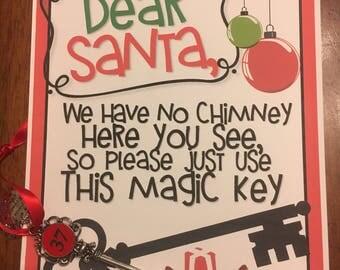 Personalized Santa Key with Note - Custom Santa Key