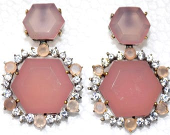 Rose Chalcedony and Zircon Earring in Sterling Silver .925 with Black Tone Finish