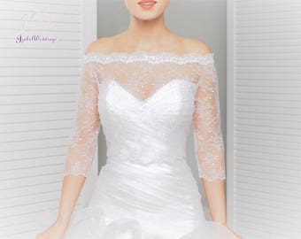 Bridal top lace 3/4 sleeves