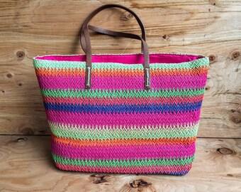 Woven Straw Beach Bag Tote // Colorful Slouchy Beach Bag