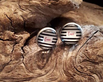 """cabochon 12 mm stainless steel """"love"""" black and white, black and white"""