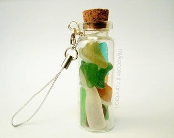 Colorful Seaglass Pieces in Tiny Bottle