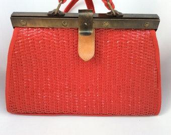 1970 red vintage handbag - Red braided straw raffia handbag