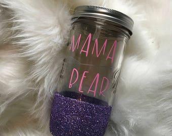 Mama bear mason jar tumbler// Mason jar tumbler// mason jar cup// personalized mason jar//  glitter dipped mason jar// mason jar