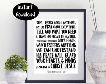 Don't Worry About Anything Instead Pray About Everything Philippians 4:6 Digital Download INSTANT DOWNLOAD