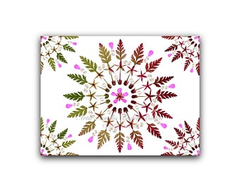 "6 greeting cards with handmade pressed flower designs: ""Kaleidoscope"""