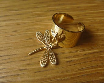 Dragonfly Gold Plated over Brass Ring