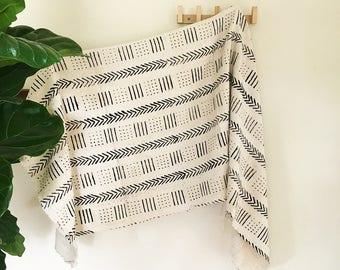 Polly | White Base Black Line Dot Pattern | Handmade African mud cloth