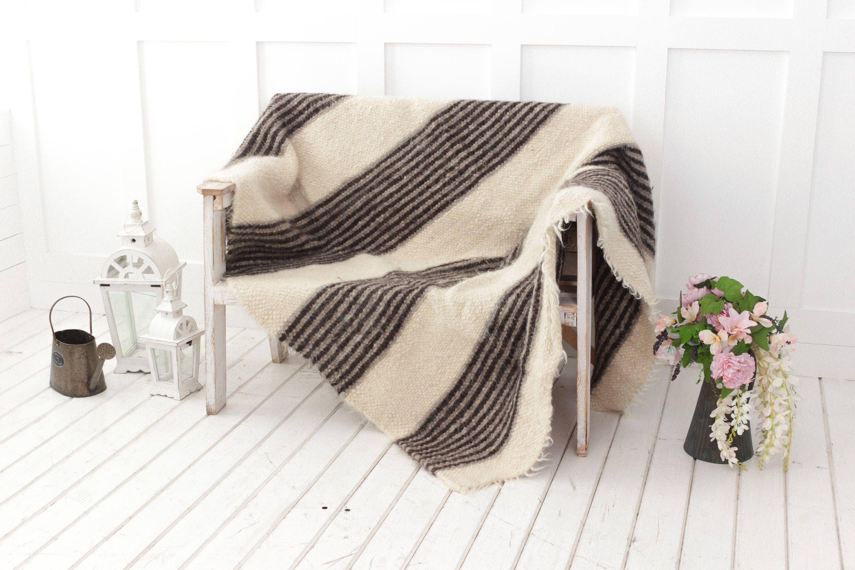 Wool Blanket Striped Throw White Grey Throw Blanket Sofa
