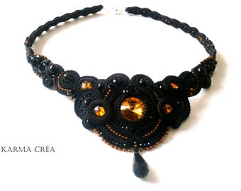 "Necklace in braid ""nero contessa"""