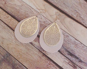 "Earring leather  jewelry ""litchi"""