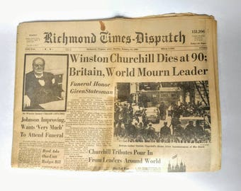 Vintage newspaper, paper ephemera, winston churchill dies, 1960s newspapers, richmond times dispatch, old newspapers, u.s. history, man cave