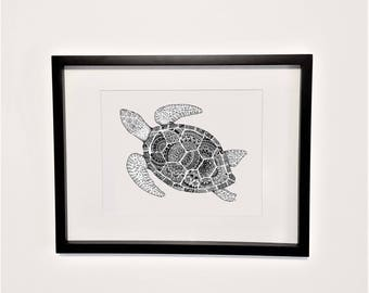 Turtle poster print | Turtle doodle