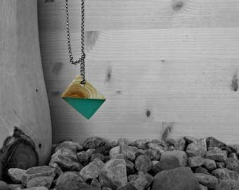 Rhomboid necklace/pendant/pendant wood resin Green