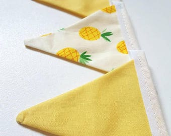 Mini pineapple and yellow bunting- 9 flags - fruit bunting, tropical, party, summer, bright, colourful, bookshelf bunting, shelf, summery