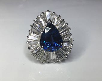Estate GIA Certified 11.39 CTW Sapphire & Diamond Ballerina 14K Engagement Ring