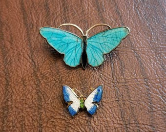 Vintage Guilloche Butterfly Pins/Brooches, White and Blue and Turquoise and Black Enameled Butterfly Figural Brooches