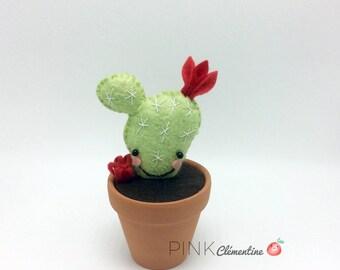 Mini Cactus en feutre de laine / mini wool felt cactus / terracotta / décoration d'interieur