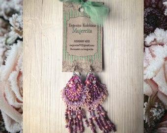 Earrings Violet dangle earrings Gift for girl woman Long earrings Womens gift Chandelier earrings Boho chic Lace Bohemian