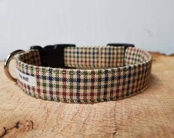 "Brown Plaid Boy Dog Collar / Beige  Green Burgundy / Male Dog Collar / Puppy Collar / Pet Collar / Collar For Boy Dogs / ""The Christopher"""