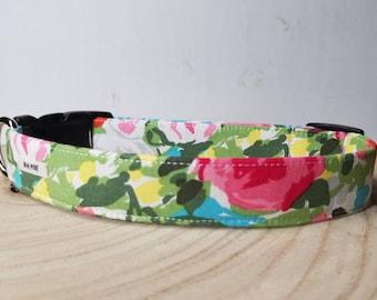 "Green Watercolor Flower Dog Collar / Pink Rosette Dog Collar / Modern Turquoise Dog Collar / Bright Floral Dog Collar  / ""The Miranda"""
