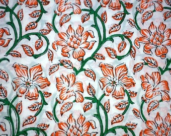Indian Hand Block Beautiful Print Fabric Dressmaking Running Cotton Block print fabric Garment dress Home decor  Crafts Soft Cambric Fabric