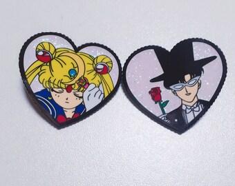 Sailor Moon & Tuxedo Mask Pin Badges