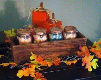 Farmhouse Decor Wood Box with Mason Jars for Centerpiece or Kitchen