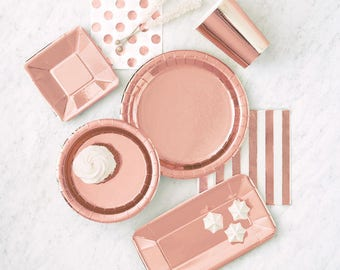 8 CT Rose Gold Plates / Rose Gold Party Plates/ Rose Gold Party / Rose Gold Foil Plates /  Rose Gold