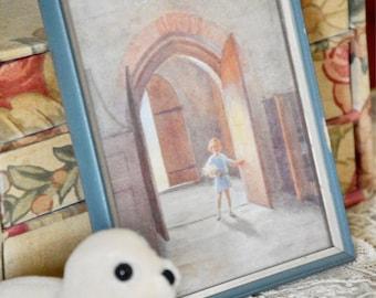 The open door old framed picture