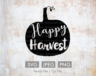 Happy Harvest Pumpkin - Vector / Cut File - Silhouette, Cricut, SVG, PNG, JPEG, Clip Art, Stock Photo, Quote, Cute, Download, ai, Fall