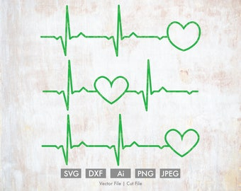 EKG Readout Heart Svg - Cut File/Vector, Silhouette, Cricut, SVG, png, DXF, Clip Art, Download, Health, Doctor, Heart Rate Monitor, Medical