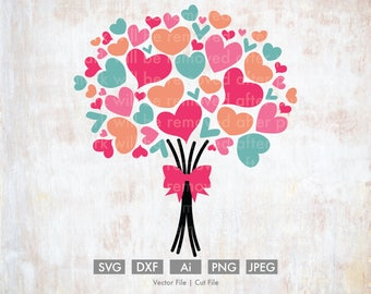 Valentine Heart Bouquet - Cut File/Vector, Silhouette, Cricut, SVG, PNG, Clip Art, Download, Holidays, Hearts, Valentine's Day, Flowers, Bow