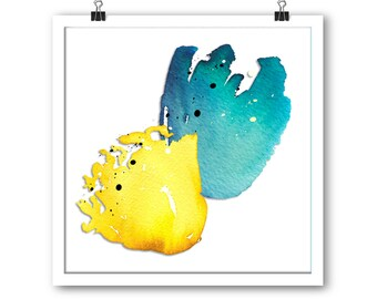 Yellow and blue floral unframed print