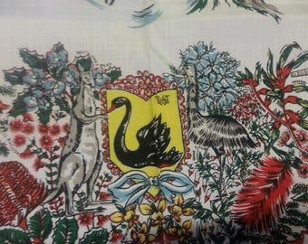 Vintage Western Australia Souvenir Tablecloth / Australian Souvenir Tablecloth