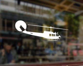 Helicopter UH1H Bell Vinyl Stickers Funny Decals Bumper Car Auto Computer Laptop Wall Window Glass Skateboard Snowboard Helmet