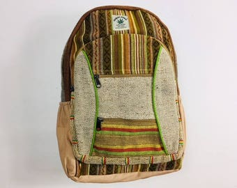 100% Hemp Backpack Rucksack Laptop Bag - Hand Crafted eco friendly - Made In Nepal ॐ